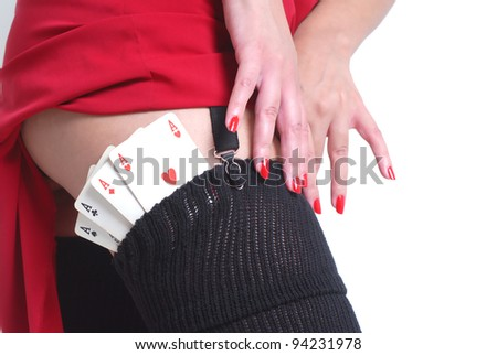 sexy woman have poker cards in her stocks