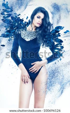 sexy woman in blue gemstones