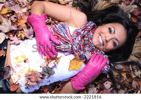 Sexy Woman In Fall fashion Outdoors Model to use in advertising.