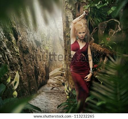 Sexy woman in jungle