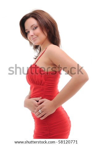 Sexy woman in red dress. Isolated over white.