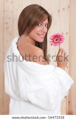 sexy woman in spa or sauna