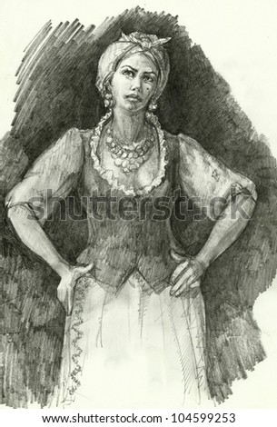 sexy woman in traditional ukrainian clothing character drawing