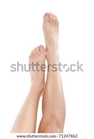 Sexy woman legs isolated on white