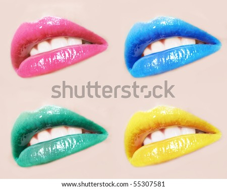 sexy woman lips different colour make up and gloss