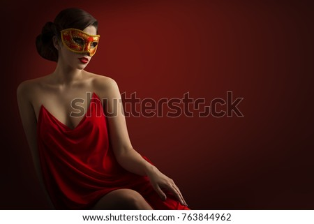 Sexy Woman Mask, Sensual Girl Carnival Masquerade, Beauty Fashion Model in Red Dress