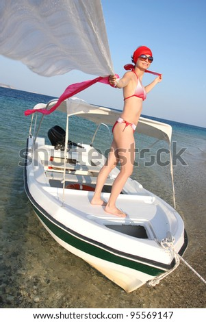 Sexy Woman on the boat