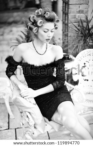 sexy woman posing elegant - fashion shoot (intentional soft focus and vintage look)