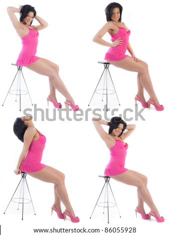 Sexy woman posing on a stool