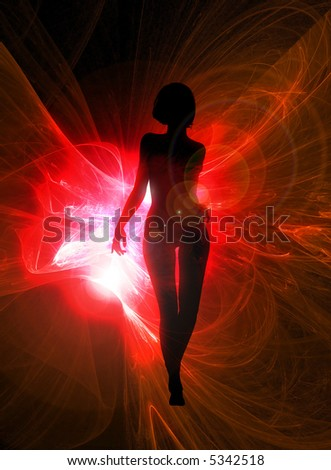 Sexy woman silhouette on glowing red abstract