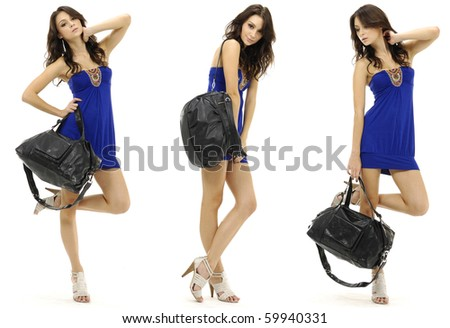 Sexy woman standing woman wearing blue clothes with handbag, collage