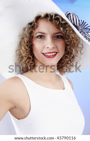 Sexy woman wearing white  hat