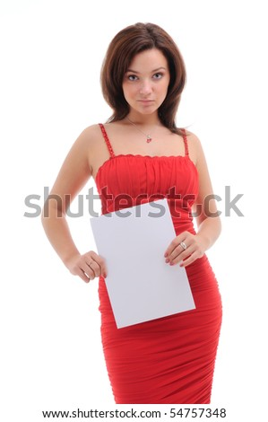 Sexy woman with blank doc. isolated over white.