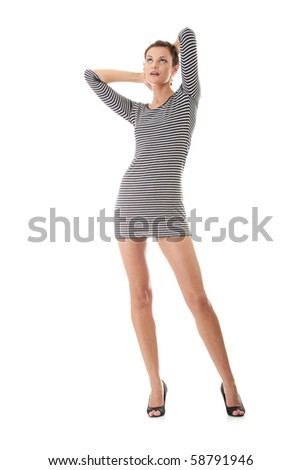 Sexy woman with long legs, isolated on white