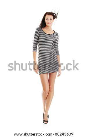 Sexy woman with long legs, isolated on white - stock photo