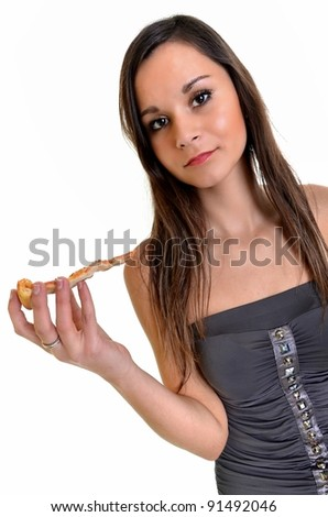 sexy woman with pizza