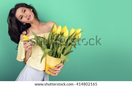 sexy woman with tulips #414802165