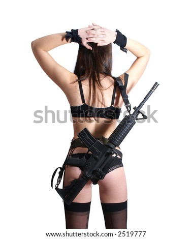 sexy woman with weapon isolated on white background - stock photo
