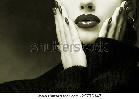 Sexy young beautiful pretty woman / model / girl / student / businesswoman / secretary with full glossy shiny lips, vintage / retro is touching her face / seductive - closeup - stock photo
