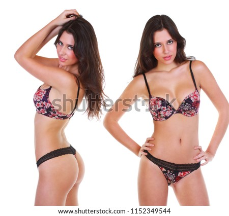 bbe13ed13fe Sexy young brunette woman posing in flowers bikini over white isolated  background #1152349544