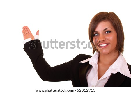 sexy young businesswoman in black suit presenting something