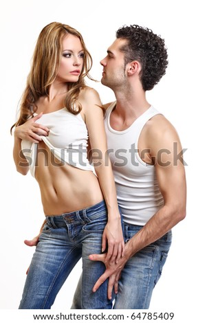 sexy young couple on white background
