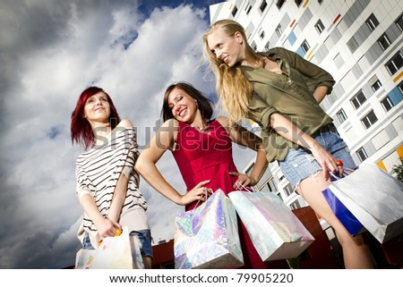 Sexy young girls after shopping