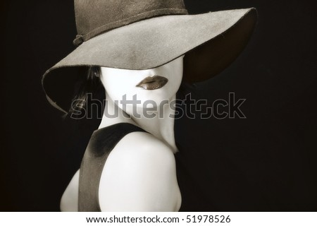 Sexy young pretty woman / model / girl / student / businesswoman / with full lips, vintage / retro hat / seductive - closeup