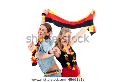 Sexy young soccer fan in the German national colors to cheer their fans