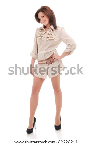 Sexy young woman.  Isolated over white.