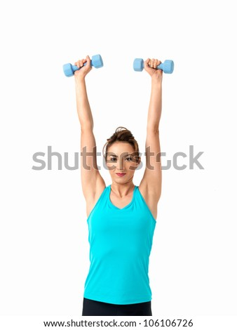 sexy, young woman showing fitness moves, on white background
