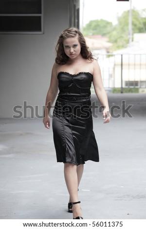 Sexy Young Woman Walking Towards The Camera Stock Photo ...