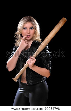 Sexy young woman with a bat in their hands. Isolated