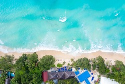 Seychelles beach Mahe island luxury vacation sea ocean symbolic photo drone view aerial photo landscape