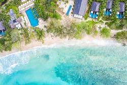 Seychelles beach Mahe island luxury vacation swimming pool sea symbolic photo drone view aerial photo landscape