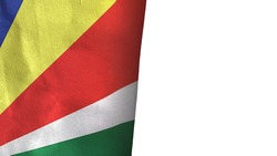 Seychelles flag isolated on white with copyspace 3D rendering