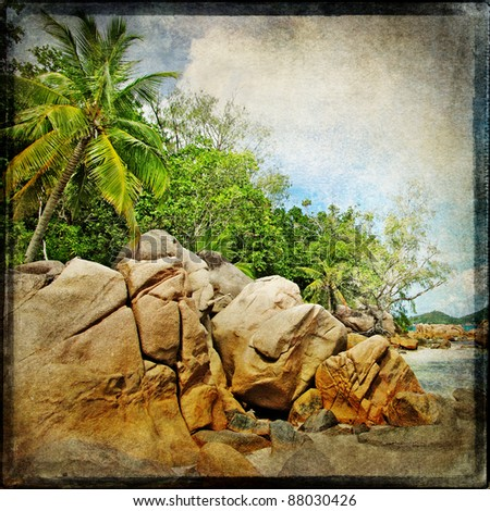 Seychelles rocky beach - retro styled picture
