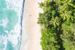 Seychelles Takamaka beach Mahe island copyspace symbolic picture nature vacation drone view aerial photo landscape
