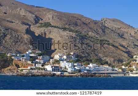 Sfakia port and village at Crete island in Greece