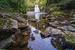 Sgwd Clun-Gwyn Waterfall located in Waterfall Country in Brecon Beacons National Park and Forest Fawr Geopark, the Vale of Neath. South Wales, the United Kingdom