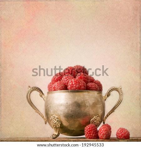 Shabby Chic Background with raspberries