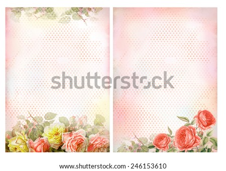 Shabby chic backgrounds with roses Floral pastel vintage background