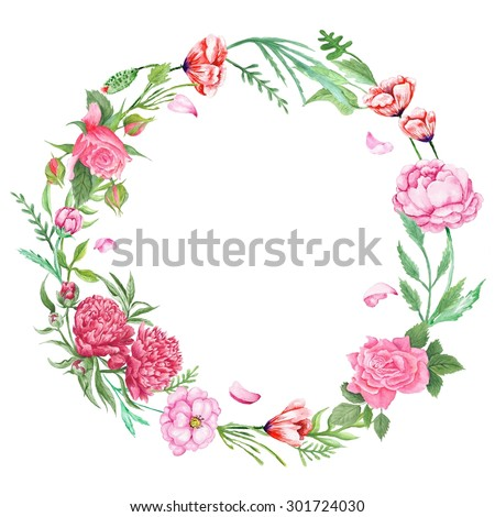 Shabby Chic Floral Wreath   Hand-painted watercolor round frame ...