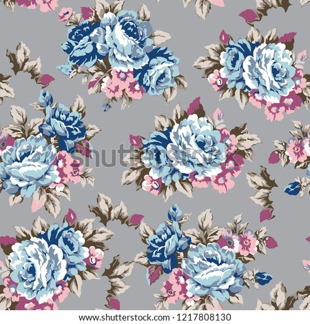 Shabby chic or granny chic vintage chintz roses seamless pattern design, classic ephemera flowers repeat background - raster version
