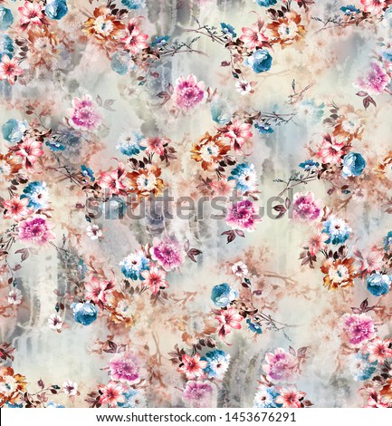 Shabby chic or granny chic Watercolor  roses seamless pattern design, classic ephemera flowers repeat