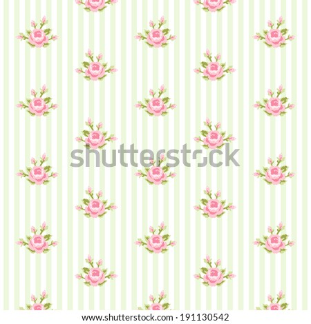 Shabby Chic Pattern With Roses On Striped Background 191130542