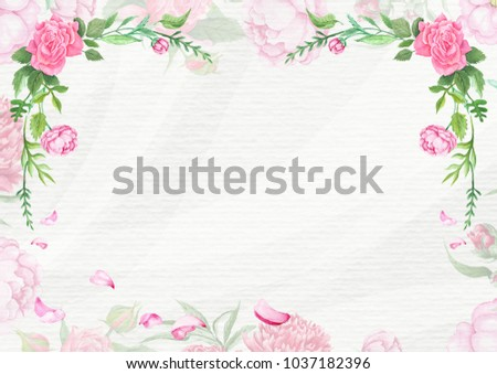 Shabby Chic Spring Card Template Watercolor floral romantic background with empty space on textured paper