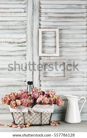 Shabby chic still life: bunch of vintage pink dry roses in wire basket and jug against white wooden blinds with empty photoframes. #557786128