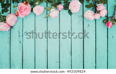 Shabby Chic Vintage Floral Background with Roses.  #492509824