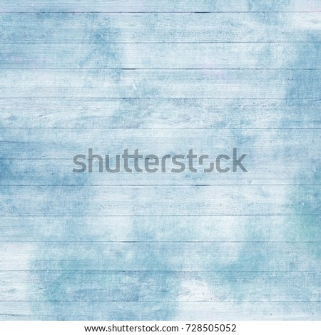Shabby chic Winter Wood Background | Vintage white and blue board texture with scratches and old paint for Christmas design #728505052